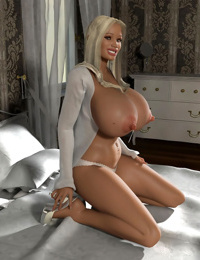 Blonde 3d hottie shows her big globes on a bed - part 409